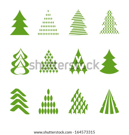 set of stylized fir trees - stock vector