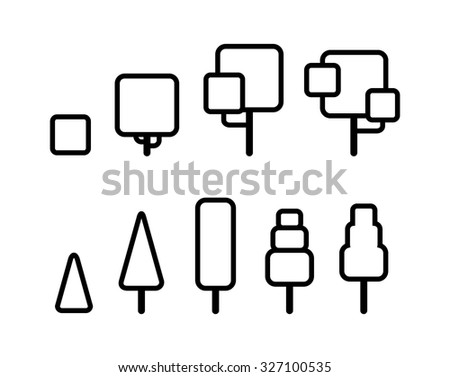 Set of stylized geometric tree outlines. Thin line vector icons. - stock vector