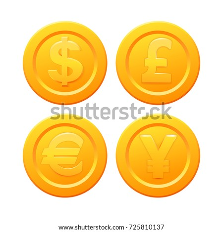 Set Stylized Golden Coin Currency Symbols Stock Vector 725810137