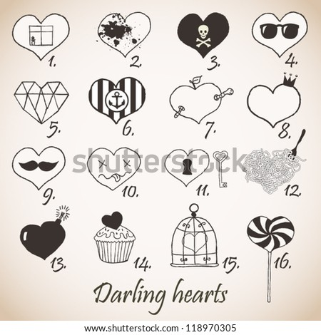 Set of stylized hand drawn hearts - stock vector