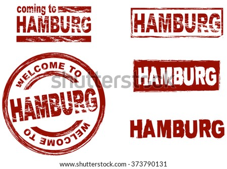 Set of stylized ink stamps showing the city of Hamburg - stock vector