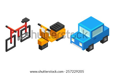 Set of stylized isometric urban personal vehicles: bicycle, scooter and car, isolated on white background. - stock vector