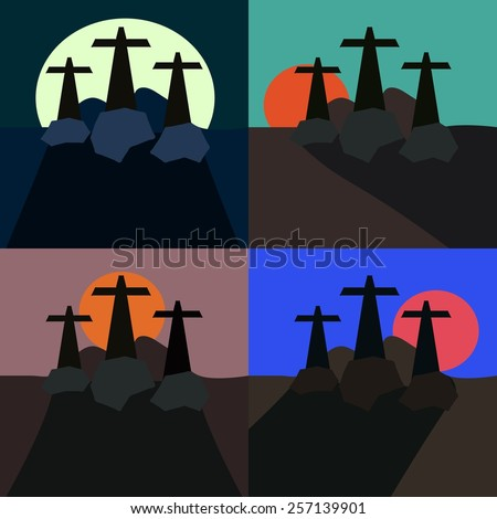 Set of stylized landscapes with three crosses - stock vector