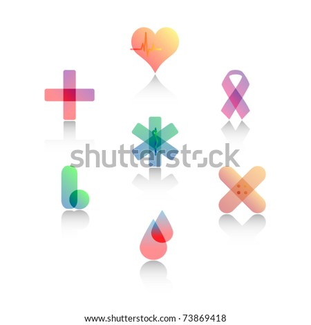 Set of Stylized Medical Symbols - stock vector