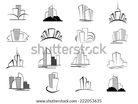 Set of stylized outline building and architectural icons of skyscrapers, high-rise commercial blocks and cityscapes logo in black and white - stock vector