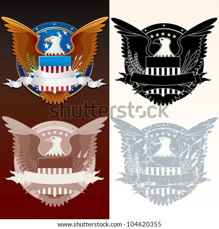 Set of Stylized Seal of the President. USA Coat of Arms - stock vector