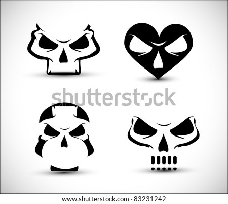 set of stylized skull shaped design elements on white background. - stock vector
