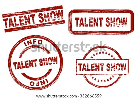 Set of stylized stamps showing the term talent show. All on white background. - stock vector