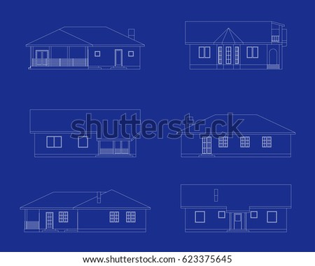 Shop icon blueprint style vectores en stock 411182443 shutterstock set of suburban houses front view various architectural solutions vector icons for your malvernweather Gallery