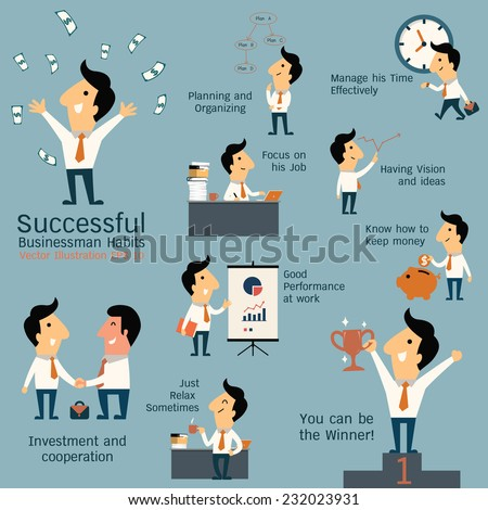 Set of successful businessman habits, various poses and many gestures. Cute character businessman with flat design style.  - stock vector