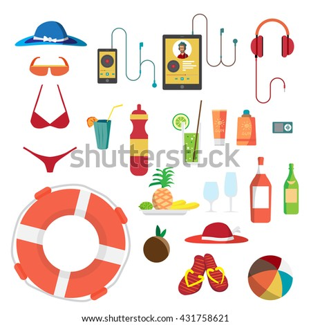 Set of summer beach objects. Summer Holidays. Hat, swimsuit, sunglasses, gadgets, food beverages and other items used on the beach