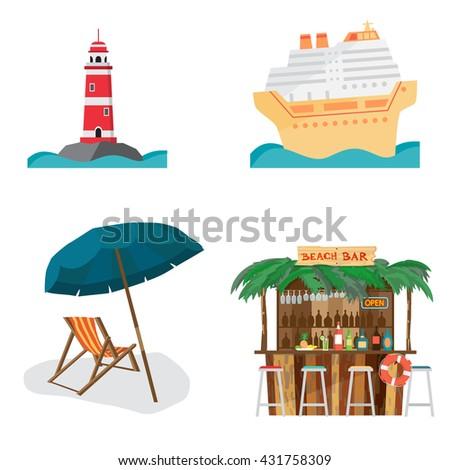 Set of summer beach objects. Summer Holidays. The lighthouse, cruise ship, beach bar, beach umbrella and chair - stock vector