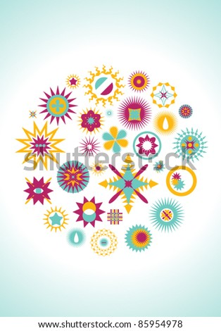 Set of summer design elements - stock vector