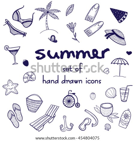Set of summer doodle icons. Hand drawn vacation illustrations.Clip art for design. Cute cartoon icons for background.