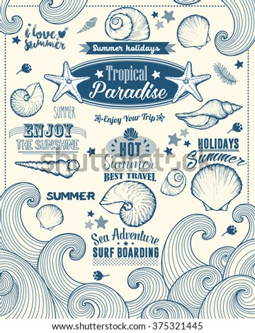 Set of Summer Element. Calligraphic Label, Seashell, Flower. Hand Drawn Style. Typographic Design for Logo or Label. Summer Holiday. Tropical Paradise, Best Tour, Beach Party, Bon Voyage - stock vector
