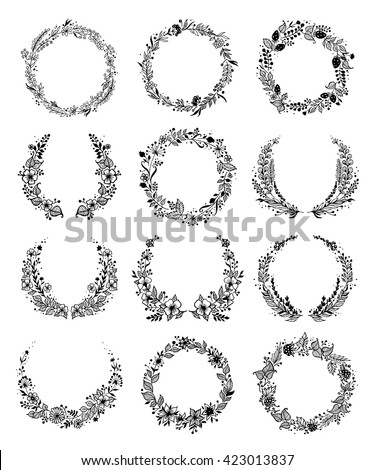 Set summer flower wreaths isolated on stock vector 423013837 set of summer flower wreaths isolated on white background for greeting card or wedding invitation stopboris Images