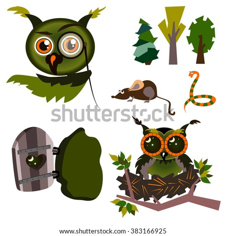 Set of summer forest. Funny character cartoon owl. Owl, mouse, snake, trees, nest,  hollow. The symbol of reason, knowledge, wisdom. Vector illustration. Isolated on white background. - stock vector