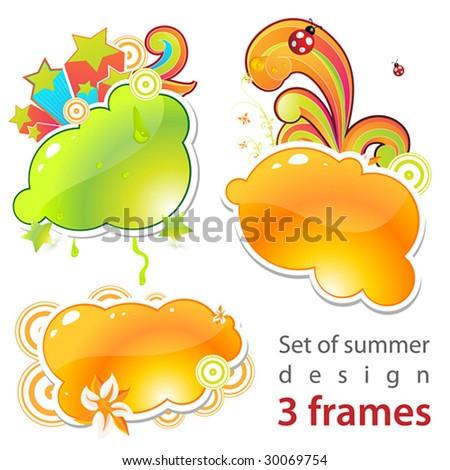 Set of summer frames! - stock vector