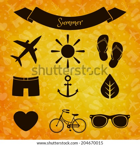 Set of summer icons on sunny background - stock vector