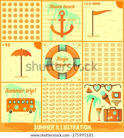Set of summer illustrations. Vector icons, prints, patterns. Easy editorial!