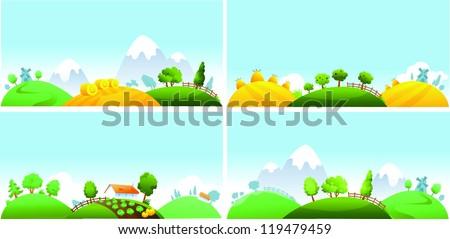 Set of summer landscape - stock vector