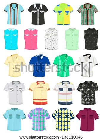 Set of summer men's shirts with short sleeves - stock vector
