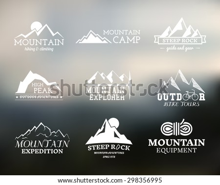 Set of Summer mountain explorer camp badge, logo and label templates. Travel, hiking, climbing style. Outdoor. Best for adventure sites, travel magazine etc. On blurred background. Vector illustration - stock vector
