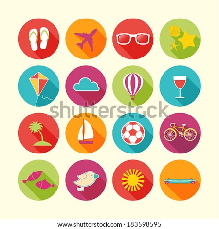 Set of Summer objects. Vector illustration. - stock vector