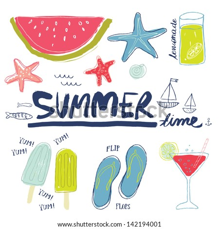 Set of summer related items - stock vector