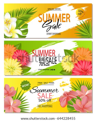 Set of summer sale banner templates with realistic vector tropical leaves and beautiful flowers. Wallpaper,flyers, invitation, posters, brochure, voucher discount. Vector illustration