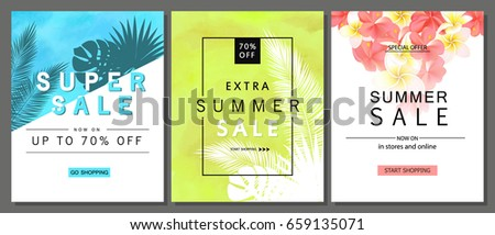 Set of summer sale banner templates with tropical leaves and beautiful flowers. Wallpaper,flyers, invitation, posters, brochure, voucher discount. Vector illustration