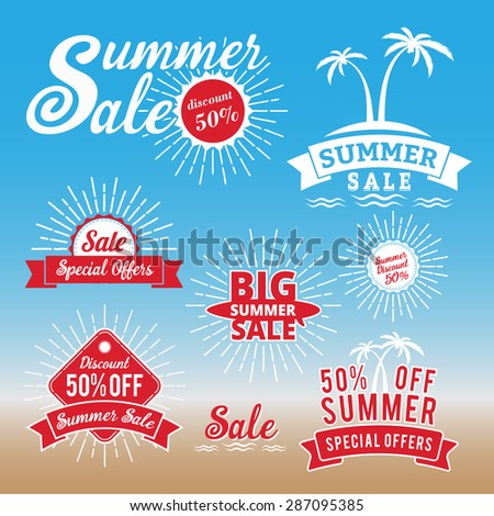 Set of summer sale promotion badge/logo design, retro badge design for logo, banner, tag, insignia, emblem, label element, advertising - stock vector