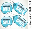 Set of summer sale tags and stickers - stock vector
