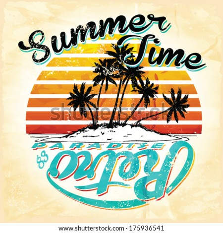 Set of Summer | Surfing Design | Tropical vector set |Hand drawing silhouette | T-shirt Printing | Badge Applique Label, Summer Paradise Holidays Typography Background For Summer - stock vector