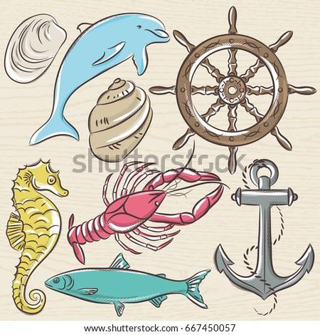 stock-vector-set-of-summer-symbols-ship-