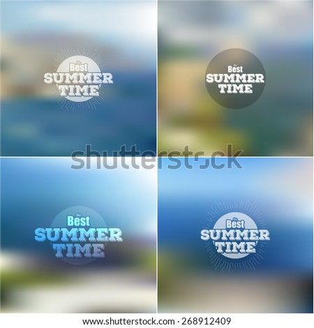 Set of summer time posters, vector web and mobile interface templates. Blurred mesh backgrounds. - stock vector