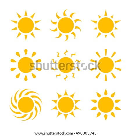 Set of sun icons. collection sun icon. Simple, flat style. Graphic vector illustration.