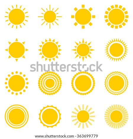 set of sun icons isolated on white background. Creative yellow sunlight symbols. Elements for weather forecast design. Solar system. Sunrise And sunset. Editable items. Flat design graphic. Vector - stock vector