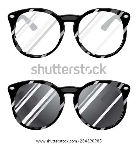Set of sunglasses and eyegalsses on white background.