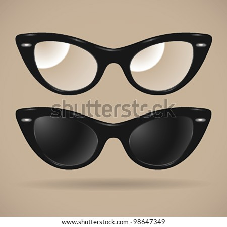 Set of sunglasses and eyeglasses (cats-eye shape/isolated) - vector illustration. Shadow and background are on separate layers. Transparent lens. Easy editing. - stock vector
