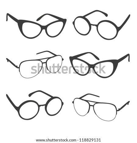 Set of sunglasses shapes. Vector illustration. Different isolated glasses on white. - stock vector