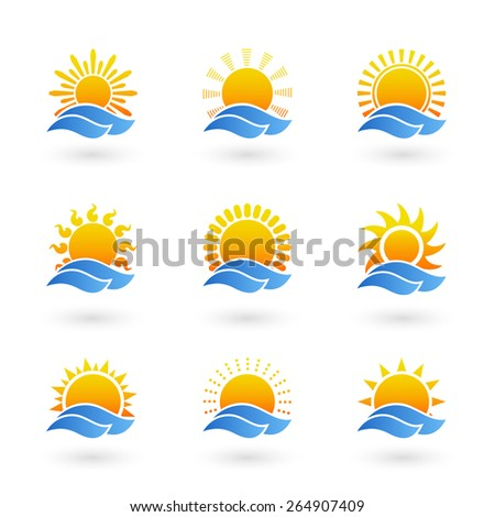 Set of sunrise or sunset icons. Sun and light, symbol sign weather. Vector illustration - stock vector