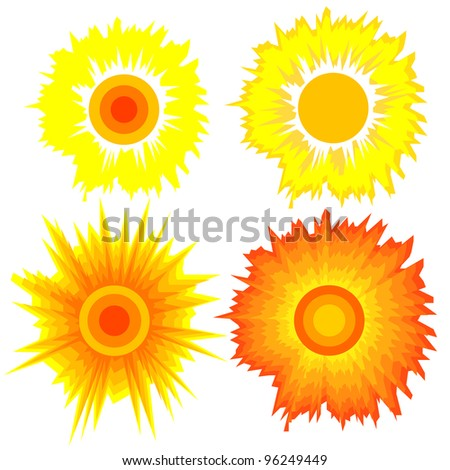 Set of suns. Elements for design. Rasterized version also available in portfolio.