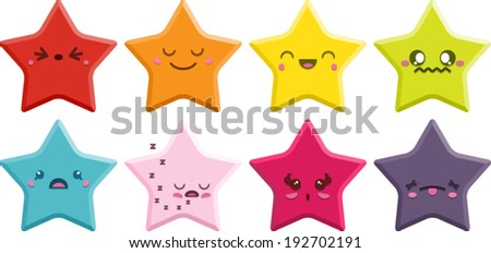 Set of 8 super cute Kawaii stars with different expressions. Vector Version.