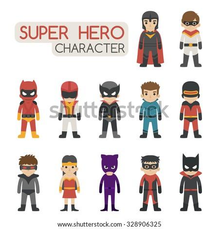 Set of super hero costume characters , eps10 vector format - stock vector