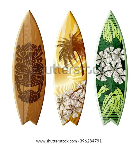 Set of surfboards with original design, EPS 10 contains transparency. - stock vector