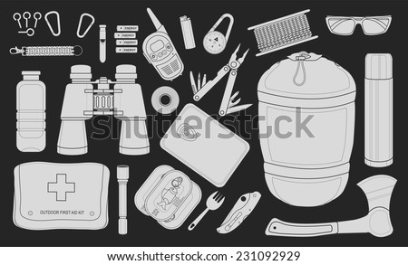 Set of survival camping equipment: flashlight, canned food, fork, food container, pocket knife, ax, carabiner, whistle, batteries, radio set, lighter, compass and others. Chalkboard illustration