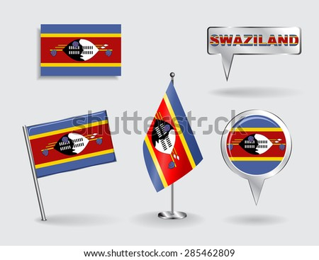 Set of Swaziland pin, icon and map pointer flags. Vector illustration. - stock vector