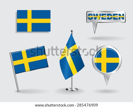 Set of Swedish pin, icon and map pointer flags. Vector illustration. - stock vector