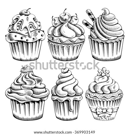 Set of sweet bakery decorated cupcakes hand drawn in vintage engraved style. Vector illustration. Isolated on white background.